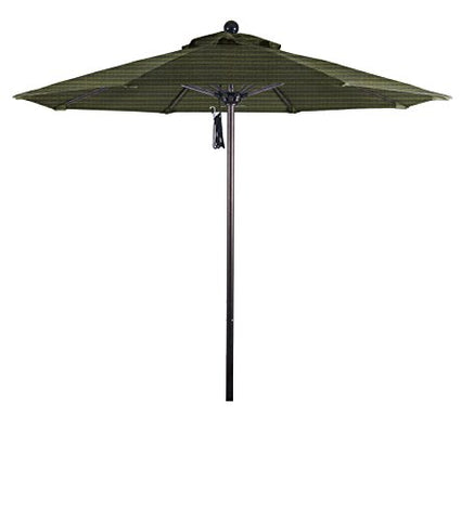 Eclipse Collection 7.5' Fiberglass Market Umbrella Pulley Open Bronze/Olefin/Terrace Fern