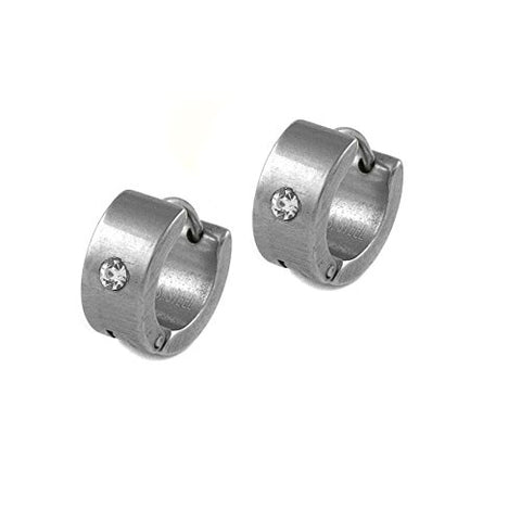 Ben and Jonah Stainless Steel Huggie Earring with One Clear Stone