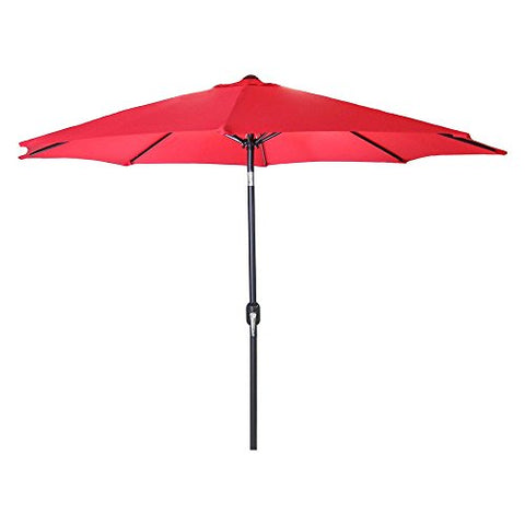 Eclipse Collection 8'H x 9'Dia Octagonal Steel Tilt Market Umbrella with Crank (Red)
