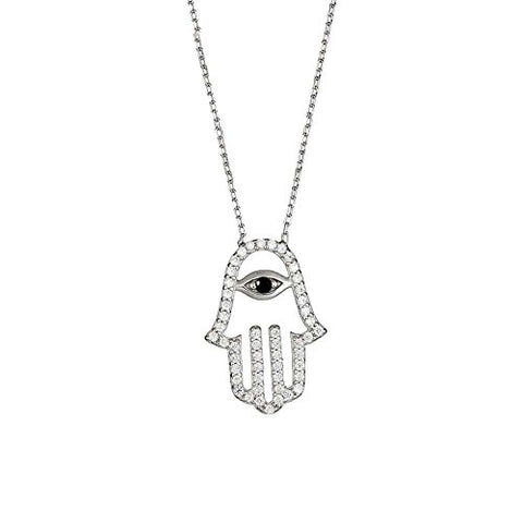 Ben and Jonah 925 Sterling Silver Rhodium Plated CZ Hamsa with Center Dark Blue Evil Eye on an 18 inch  Chain