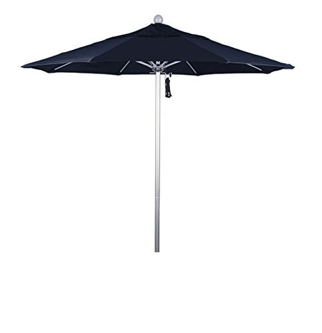 Eclipse Collection 7.5' Fiberglass Market Umbrella Pulley Open Silver Anodized/Olefin/Navy Blue