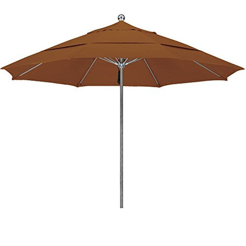 Eclipse Collection 11'SSteel SinglePole FGlass Ribs M Umbrella DV Anodized/Sunbrella/C Teak