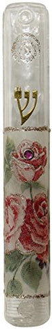 Ultimate Judaica Mezuzah Case Lucite 10cm Rose