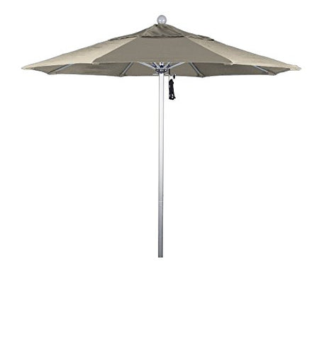Eclipse Collection 7.5' Fiberglass Market Umbrella Pulley Open Silver Anodized/Olefin/Antique Beige