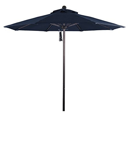 Eclipse Collection 7.5' Fiberglass Market Umbrella Pulley Open Bronze/Olefin/Navy Blue