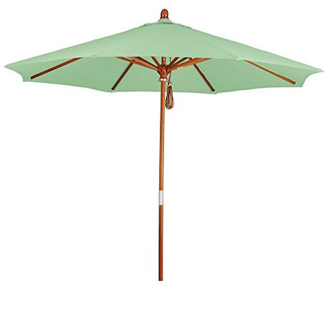 Eclipse Collection 9' Wood Market Umbrella Pulley Open Marenti Wood/Pacifica/Spa