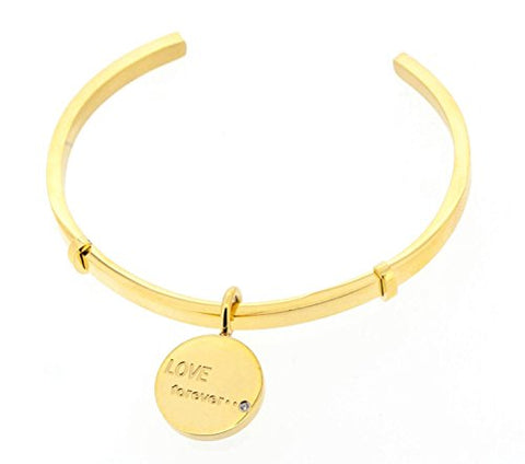 Ben and Jonah Stainless Steel Inspirational Cuff Bracelet with  inch Love Forever inch  Charm with Stone (Yellow Gold Plating) - 2.75 inch  Diameter 0.16 inch H