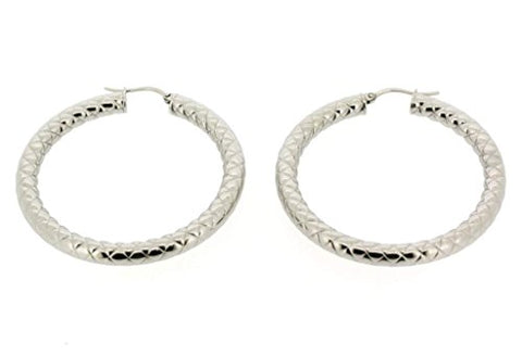 Ben and Jonah Stainless Steel Hoop Earring with Braided Design (40mm)