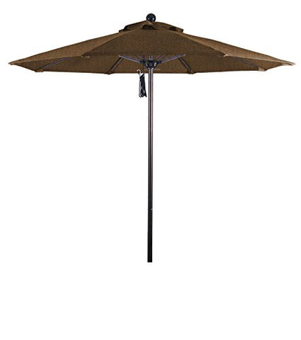 Eclipse Collection 7.5' Fiberglass Market Umbrella Pulley Open Bronze/Olefin/Teak