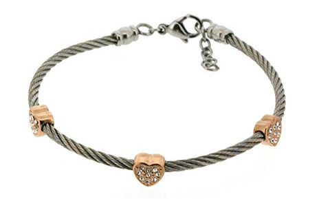 Ben and Jonah Stainless Steel Ladies Cable Bracelet with Heart Rose Gold Plated Static Charms Cover with Clear Stones