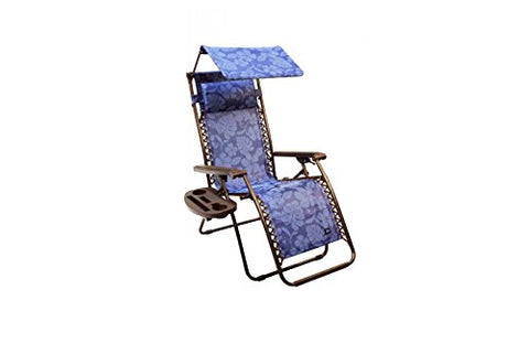 Patio Bliss GRAVITY FREE Chair with Sun-Shade and Cup Tray - Blue Floral Swirl
