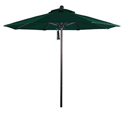 Eclipse Collection 7.5' Fiberglass Market Umbrella Pulley Open Bronze/Olefin/Hunter Green