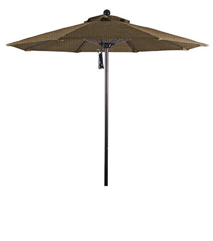 Eclipse Collection 7.5' Fiberglass Market Umbrella Pulley Open Bronze/Olefin/Straw