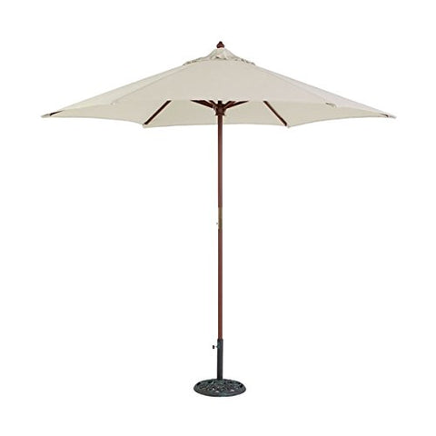 Eclipse Collection 8'3 inch H x 9'Dia Hexagonal Wood Market Umbrella with Pulley (Canvas)