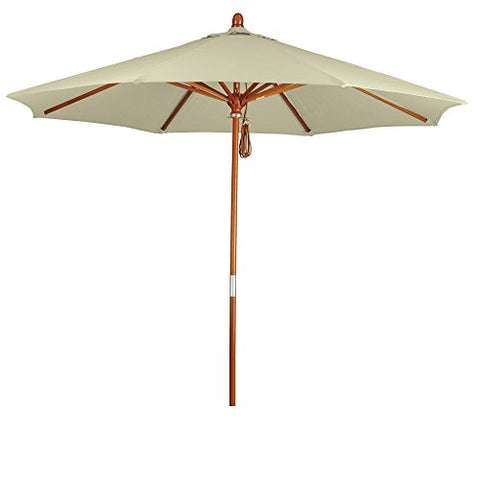 Eclipse Collection 9' Wood Market Umbrella Pulley Open Marenti Wood/Pacifica/Canvas