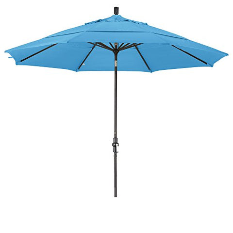 Eclipse Collection 11' Aluminum Market Umbrella Collar Tilt Bronze/Olefin/Frost Blue/DWV