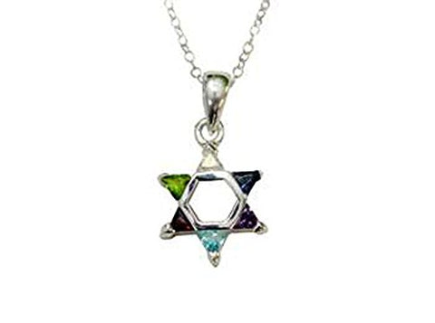 Silver Star of David with Multi Color Stones Necklace - Chain 18 inch  Pendant 1/2 inch W X 1 inch H