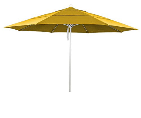 Eclipse Collection 11' Fiberglass Market Umbrella PO DVent MWhite/Pacifica/Yellow