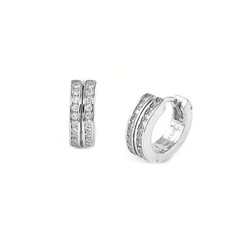 Ben and Jonah 925 Silver Huggie Earrings with 2 rows of Clear stones