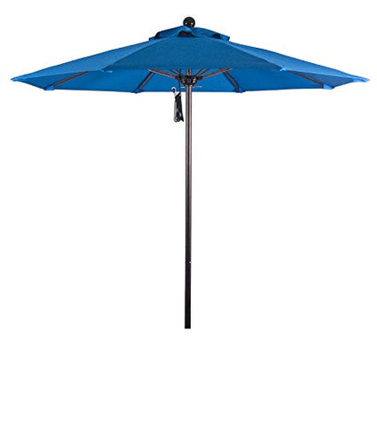 Eclipse Collection 7.5' Fiberglass Market Umbrella Pulley Open Bronze/Pacifica/Pacific Blue