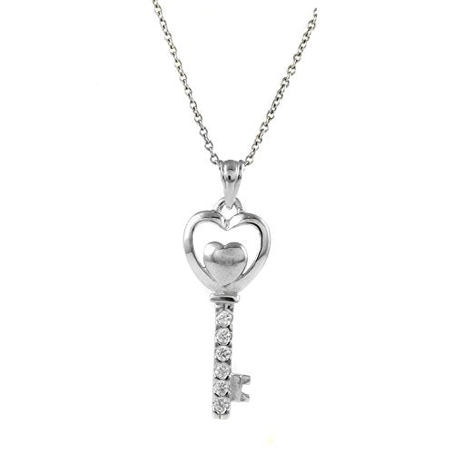 Ben and Jonah 925 Sterling Silver Heart Key Pendant with Stones and 18 inch  Chain