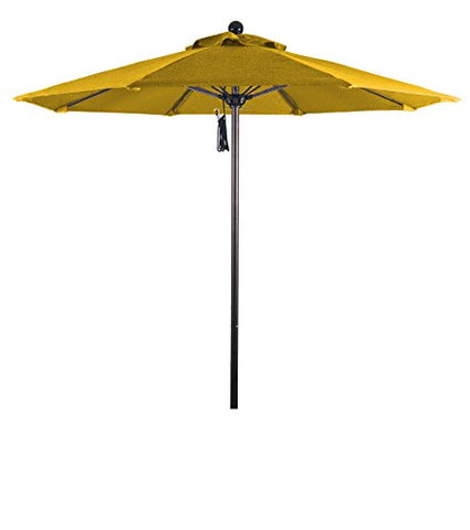 Eclipse Collection 7.5' Fiberglass Market Umbrella Pulley Open Bronze/Pacifica/Yellow