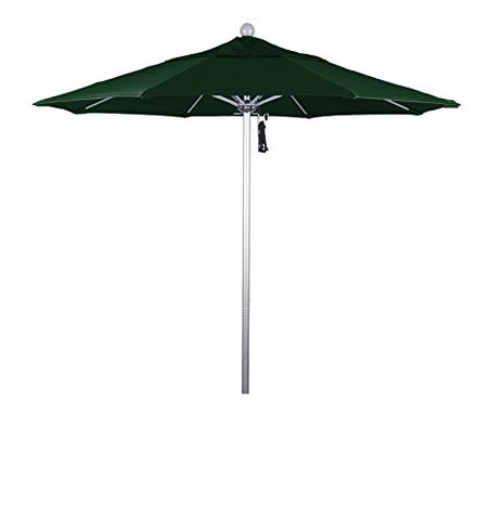 Eclipse Collection 7.5' Fiberglass Market Umbrella Pulley Open Silver Anodized/Pacifica/Hunter Green