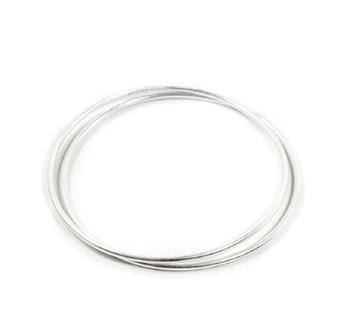 Ben & Jonah 925 Sterling Silver Set of 2 Bangles (70mm Diameter)