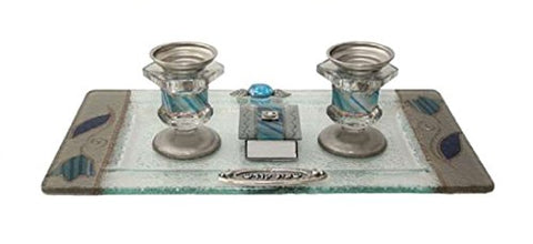 5th Avenue Collection Candle Stick With Tray And Matchbox Small Applique - Ocean Blue With Tulip - Tray 10 3/4 inch W X 6 inch H Candlesticks  - 2.5 inch H Matchbox 2 inch W X 1.5 inch  H