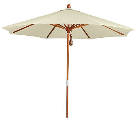 Eclipse Collection 9' Wood Market Umbrella Pulley Open Marenti Wood/Pacifica/Natural