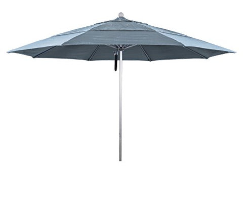 Eclipse Collection 11' Fiberglass Market Umbrella PO DVent Silver Anodized/Sunbrella/Air Blue
