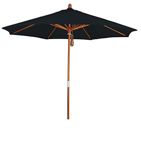 Eclipse Collection 9' Wood Market Umbrella Pulley Open Marenti Wood/Pacifica/Black