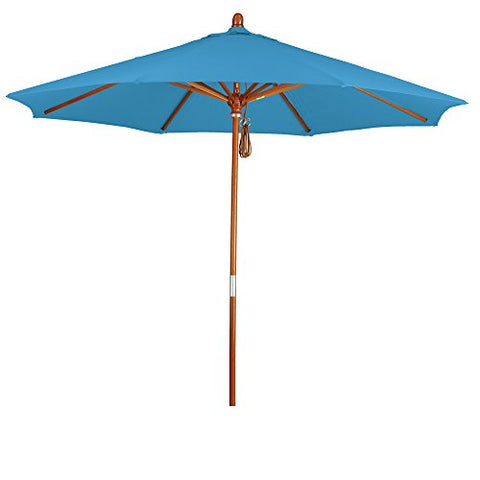 Eclipse Collection 9' Wood Market Umbrella Pulley Open Marenti Wood/Pacifica/Capri
