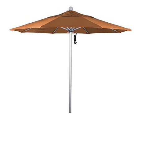 Eclipse Collection 7.5' Fiberglass Market Umbrella PO DVent Silver Anodized/Sunbrella/Tuscan