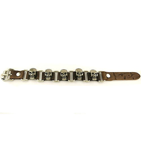 Leather and Stainless Steel Skulls Biker Bracelet with Buckle Lock Brown