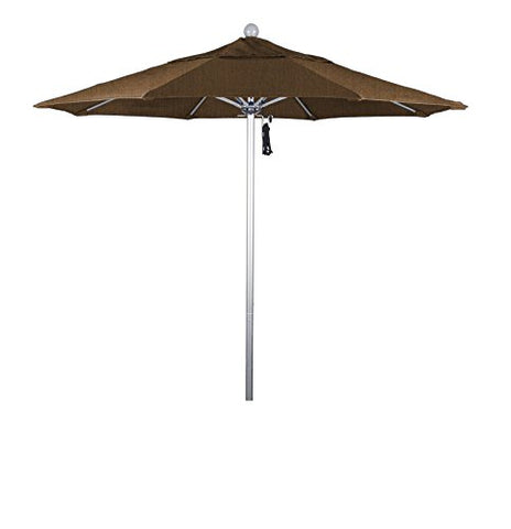Eclipse Collection 7.5' Fiberglass Market Umbrella Pulley Open Silver Anodized/Olefin/Straw