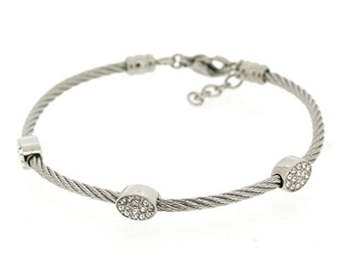 Ben and Jonah Stainless Steel Ladies Cable Bracelet with Oval Static Charms Cover with Clear Stones