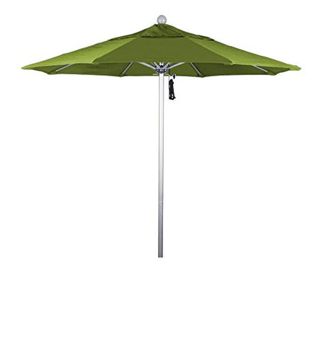 Eclipse Collection 7.5' Fiberglass Market Umbrella Pulley Open Silver Anodized/Olefin/Kiwi