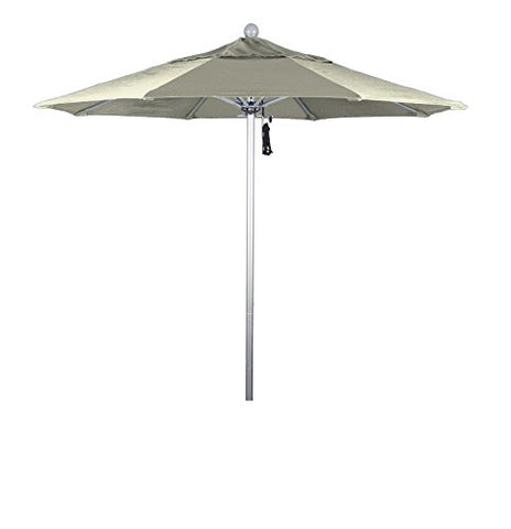 Eclipse Collection 7.5' Fiberglass Market Umbrella PO DVent Silver Anodized/Sunbrella/Natural