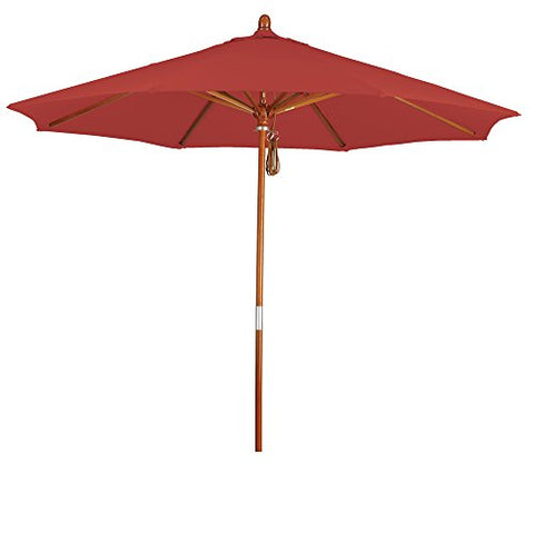 Eclipse Collection 9' Wood Market Umbrella Pulley Open Marenti Wood/Pacifica/Tuscan