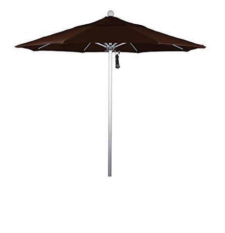 Eclipse Collection 7.5' Fiberglass Market Umbrella Pulley Open Silver Anodized/Pacifica/Mocha
