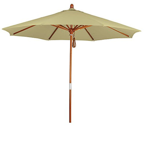 Eclipse Collection 9' Wood Market Umbrella Pulley Open Marenti Wood/Pacifica/Beige