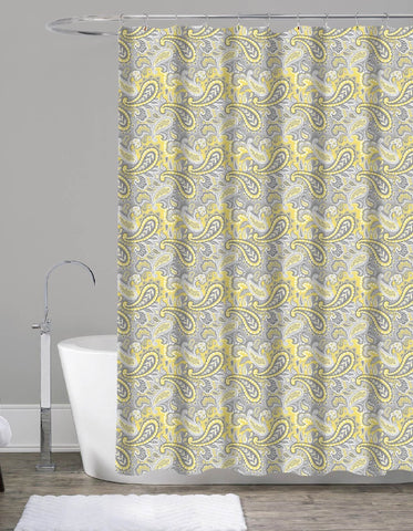 "Royal Bath Mustard Paisley Canvas Fabric Shower Curtain (70"" x 72"")"