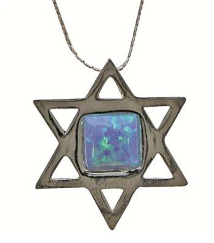 Silver Star Of David Necklace With Opal - Chain 16 inch  Pendant 7/8 inch  W X 1 inch  H