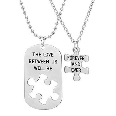 His and Hers 'The Love Between Us Will Be Forever and Ever' Dog Tag and Puzzle Piece Necklace