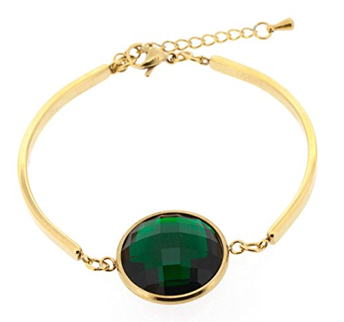 Ben and Jonah Stainless Steel Gold Plated Fancy Lady's Bracelet with Green Cutting Stone
