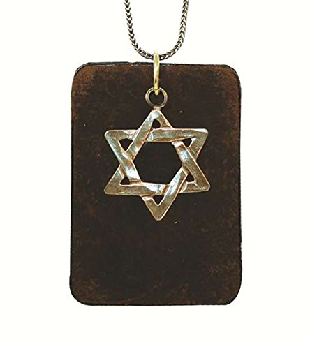 Silver Star Of David On A Leather Pendant - Chain 21 inch  Leather 1 1/4 inch  W X 2 inch  Pendant 3/4 inch  X   3/4 inch