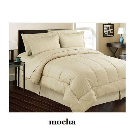 Ben&Jonah Designer Plush Queen 8 Piece Set: Embossed Dobby Stripe Microfiber Bed In A Bag -Mocha