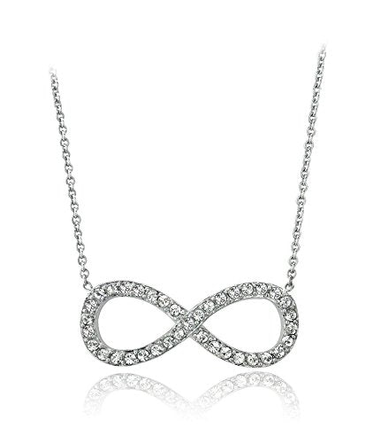 Silver 925 Infinity Symbol with Stones and 16 inch  Link Chain Necklace and 2 inch  Extension