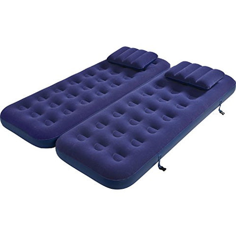 By PoolCentral 75 inch  Navy Blue 3 in 1 Inflatable Flocked Air Mattress with Pillows